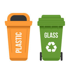 Two multicolored recycle waste bins flat vector