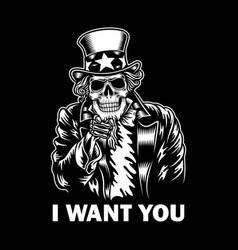uncle sam skull vector image