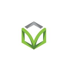 V logo hexagon icon vector