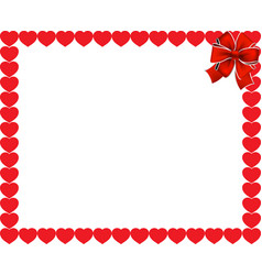 valentines frame with red hearts and ribbon vector image