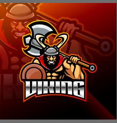 viking norseman esport mascot logo vector image