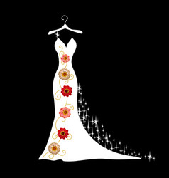 wedding dress silhouette vector image