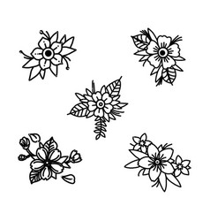 Wild flowers sketch wildflowers and herbs nature vector