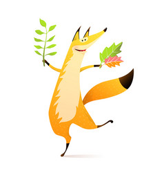 Wild happy fox dancing with fall leaf happy smile vector