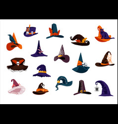 Witch hats collection vector