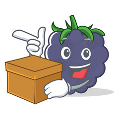 With box blackberry character cartoon style vector