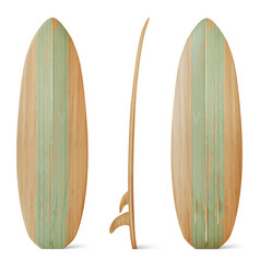 wooden surfboard front side and back view vector image