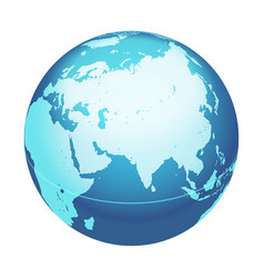 World globe map india middle east asia centered vector