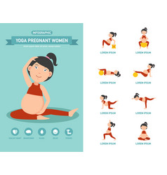 Yoga pregnant women healthcare infographics vector