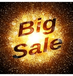 Big sale banner Abstract explosion with gold vector image
