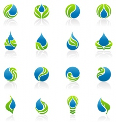 drops and leaves design elements vector image