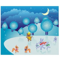 fairy-tale winter landscape vector image vector image