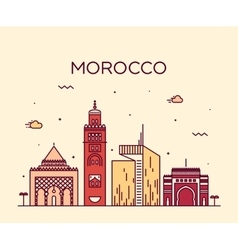 Morocco skyline trendy linear vector image