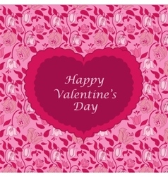 Red floral valentine card vector image