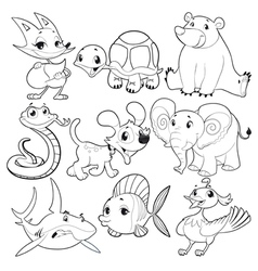 Set of animals in black and white vector image vector image