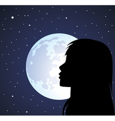 silhouette of a girl and the moon vector image vector image