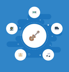 Flat icons musical instrument acoustic octave vector