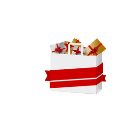gift box in paper shopping bag on white background vector image