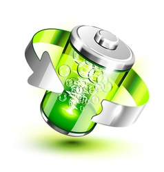 Green battery vector image