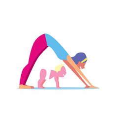 kids yoga concept with mother and child vector image vector image