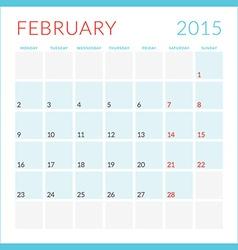 Calendar 2015 flat design template February Week vector image vector image