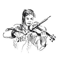 Hand sketch violinist vector image