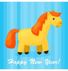 New year background with funny cartoon horse vector image vector image