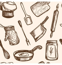 seamless pattern hand drawn kitchen objects vector image
