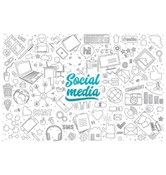 Social media doodle set with lettering vector