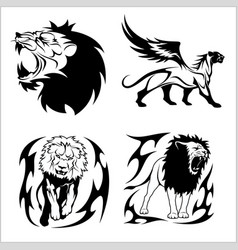 tribal lions set of black and white vector image