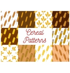 Wheat rye and barley ears seamless patterns set vector image