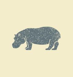 a silhouette of a hippopotamus vector image vector image