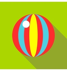 Children s toy ball with stripes on a bright green vector image vector image