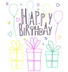 cute happy birthday greeting card design with vector image vector image