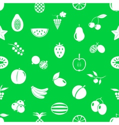 fruit theme icons set green and white seamless vector image
