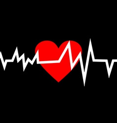 Heart with Life Line in Minimalistic Style vector image vector image