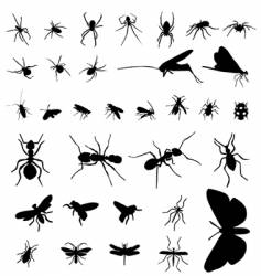 insect silhouettes vector image