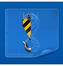 Lifting hook drawing blueprint vector image vector image