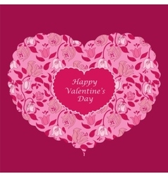 Red floral heart valentine card vector image vector image