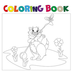 small kitten coloring book vector image