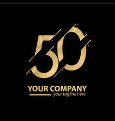 50 year anniversary luxury gold template design vector