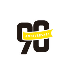 90 years anniversary number with yellow ribbon vector