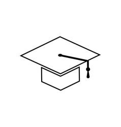 Academic cap with tassel line art icon vector