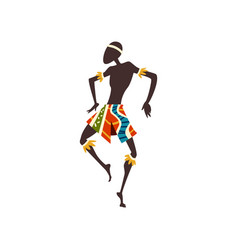 African man dancing aboriginal dancer in bright vector