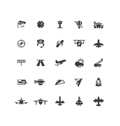 Airplanes and flight black icons vector image
