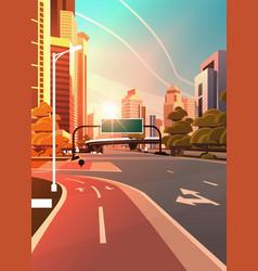 asphalt road with bike cycling lane path vector image