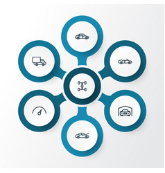 Automobile outline icons set collection lorry vector