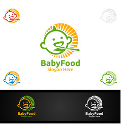 Baby food logo for nutrition or supplement concept vector