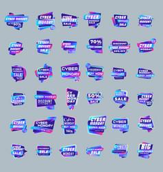 Big set cyber monday sale stickers discount vector