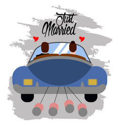 Bride and groom on a car just married couple vector